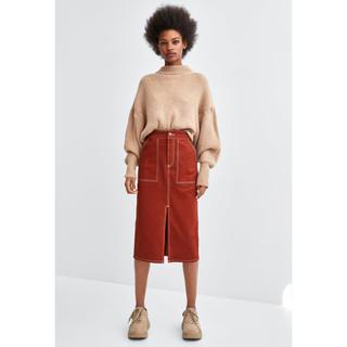 ザラ(ZARA)のZaraフロントスリット&ステッチスカートxsブラウン(ひざ丈スカート)