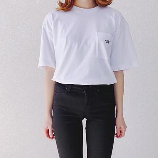 THE NORTH FACE - ノースフェイス  ロゴ刺繍tシャツ   ホワイトMサイズ