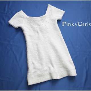 ピンキーガールズ(PinkyGirls)のピンキーガールズ★ふわふわ 半袖ワンピース M 白 ビーズ装飾 リボン(ミニワンピース)