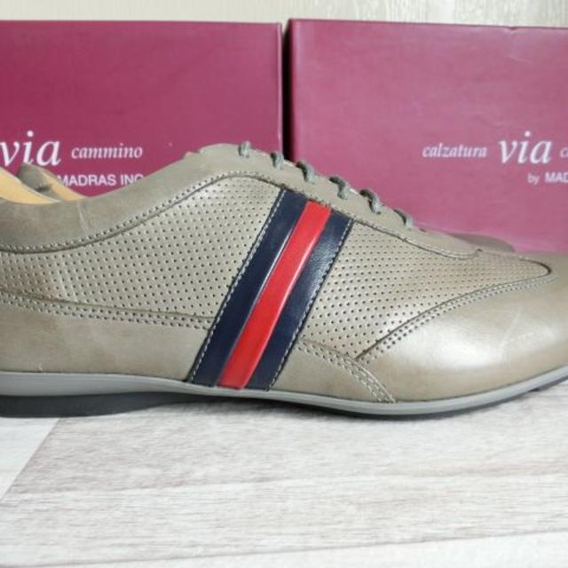 madras(マドラス)のマドラス ヴィアカミーノ レザーカジュアルシューズ グレー 25.5cm メンズの靴/シューズ(スニーカー)の商品写真