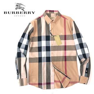 BURBERRY - 新品☆バーバリー メガノバチェック◎長袖シャツ ホース刺繍入り◎ベージュ