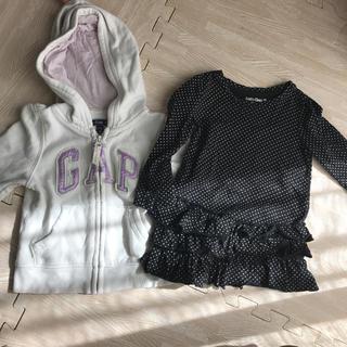 ベビーギャップ(babyGAP)のbabyGap ベビーギャップ 80 女の子 チュニック パーカー セット 秋冬(トレーナー)