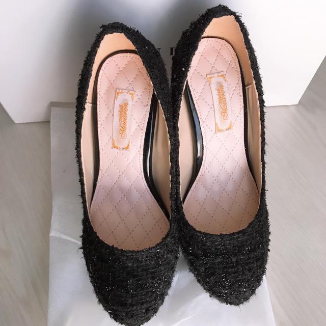 michellMacaron(ミシェルマカロン)のミシェルマカロン ツイード ビジュー パンプス ヒール  レディースの靴/シューズ(ハイヒール/パンプス)の商品写真
