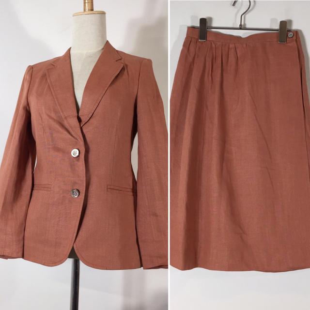 BURBERRY(バーバリー)のバーバリーズ スカートスーツ テラコッタ 7号 巻スカート 参観 リネン レディースのフォーマル/ドレス(スーツ)の商品写真