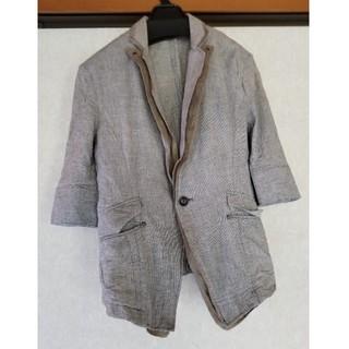 ピーピーエフエム(PPFM)のPPFM 綿ジャケット 5分袖 7分袖 Sサイズ グレー チェック(テーラードジャケット)