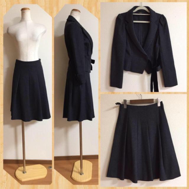 ef-de(エフデ)の美品♪ ef-de ウール100% リボン セットアップ スーツ レディースのフォーマル/ドレス(スーツ)の商品写真