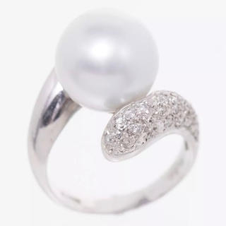 pt 900 ダイヤ付きパールリング指輪 真珠11.1mm#8(リング(指輪))