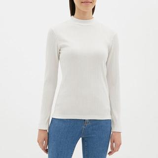 ☆リブハイネックT(長袖) GU ジーユー 白Tシャツ ロンT シンプル 無地
