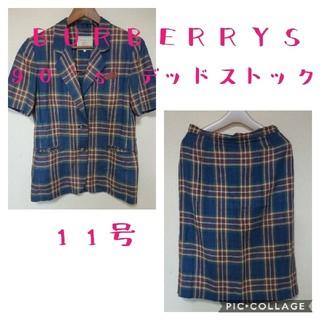 バーバリー(BURBERRY)の新古品】90年代 バーバリー チェック 麻 スカートスーツ ジャケット リネン(スーツ)