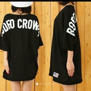 RODEO CROWNS WIDE BOWL - ☆ 新品未使用 ☆ ロデオ バックロゴ ビッグTシャツ ワンピース ブラック