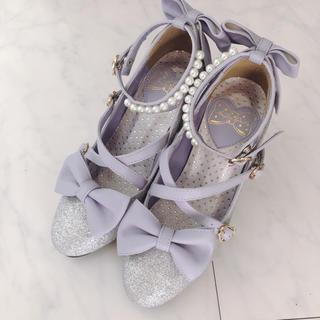 アンジェリックプリティー(Angelic Pretty)のAngelic Pretty シューズ 靴 リボン ラベンダー(ハイヒール/パンプス)