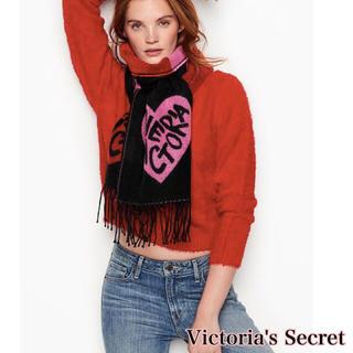 ヴィクトリアズシークレット(Victoria's Secret)のヴィクトリア シークレット 暖かい ストール マフラー ブラック ピンク ハート(ストール/パシュミナ)