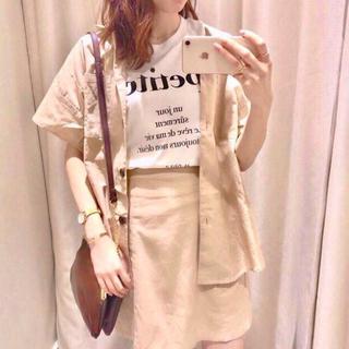 新品 one after NICE CLAUP  麻混ミニスカート