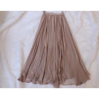 リリーブラウン(Lily Brown)の光沢シースルーフレアスカート ブラウン Mサイズ(ロングスカート)