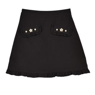 evelyn - evelyn ポケットビジュー台形スカート ブラック