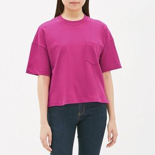 GU - ☆ヘビーウェイトT(5分袖) GU ジーユー ピンク オーバーサイズTシャツ