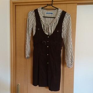 ジエンポリアム(THE EMPORIUM)のコーデュロイ風ジャンパースカート+ストライプシャツセット(その他)