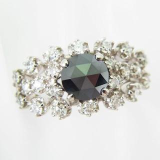 Pt900 ブラック 無色 ダイヤモンド リング 12号[f54-1](リング(指輪))
