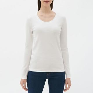 ジーユー(GU)の☆クルーネックT(長袖) GU ジーユー ロンT 長袖Tシャツ 無地 白(Tシャツ(長袖/七分))