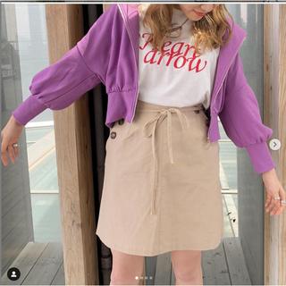 ウエストリボン麻混スカート