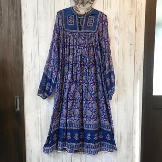 グリモワール(Grimoire)の70s ヴィンテージ  インド綿ワンピース ドレス 青系(ロングワンピース/マキシワンピース)
