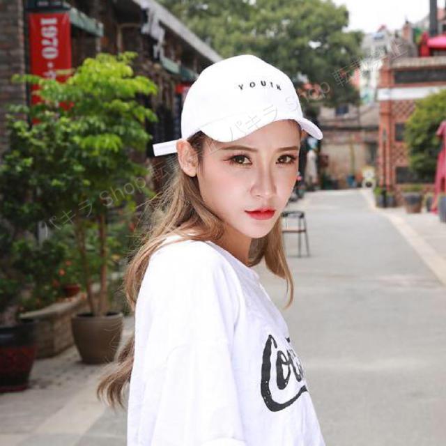 YOUTH キャップ 帽子 白 人気 シンプル コーデ 野球帽 韓国