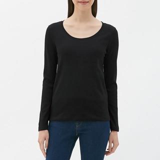 ジーユー(GU)の☆クルーネックT(長袖) GU ジーユー ロンT 長袖Tシャツ 無地 黒(Tシャツ(長袖/七分))