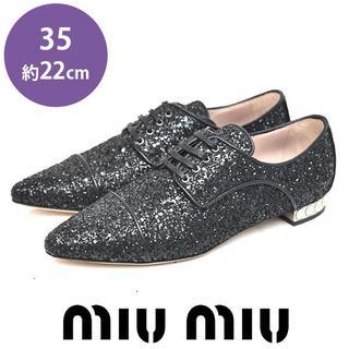 ミュウミュウ(miumiu)の新品❤️ミュウミュウ グリッター オクスフォードシューズ 35(約22cm)(ローファー/革靴)