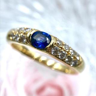 ☆K18 ダイヤ 0.40 サファイア 0.37 パヴェ リング 14号 指輪(リング(指輪))