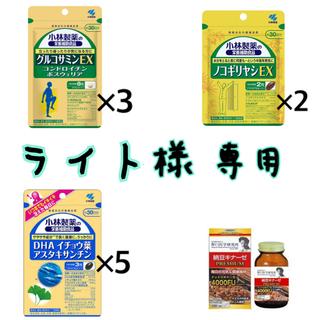 コバヤシセイヤク(小林製薬)の納豆キナーゼ、 DHAイチョウ葉×5、ノコギリヤシEX×2、グルコサミンEX×3(その他)
