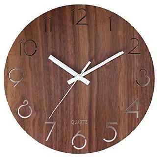 壁掛け時計 木製 サイレント 連続秒針 透かし彫り アナログ クロック