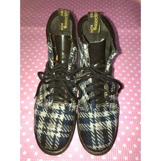 ドクターマーチン(Dr.Martens)のレア ドクターマーチン 8ホール ツイード素材 ブルーチェック柄 ブーツ UK6(ブーツ)