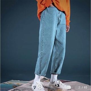 韓国ファッション ワイドアンクルデニムパンツ(デニム/ジーンズ)