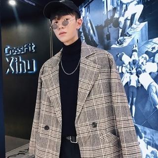 韓国ファッション テーラードジャケット グレンチェック(テーラードジャケット)