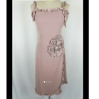 ジーザスディアマンテ(JESUS DIAMANTE)のバラ 薔薇 ワンピース フリル ドレス 結婚式 二次会 キャバ ベージュ(ひざ丈ワンピース)