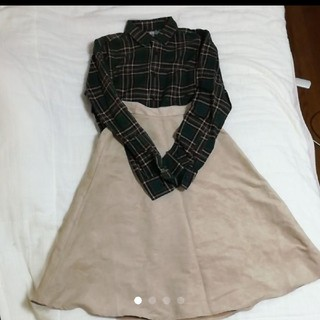GU - 【セットでお得】秋服 チェックシャツ スカート