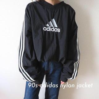adidas - 90s アディダス 刺繍ロゴ プルオーバー ナイロンジャケット 古着