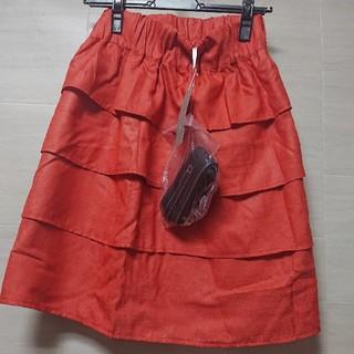 ベルメゾン - 【新品、タグ付き】L ミクスト  ティアードスカート ベルト付き オレンジ