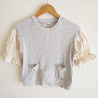 ミスティック(mystic)のmystic 袖パフ切り替えしリブTシャツ(Tシャツ(半袖/袖なし))