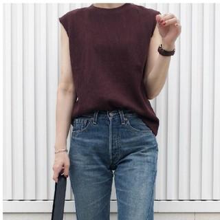 ジーユー(GU)のワッフルスリーブレスT ブラウン XL(Tシャツ(半袖/袖なし))