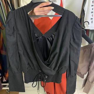 定価6300 レースアップブラウス 黒 胸元の糸取れ(シャツ/ブラウス(長袖/七分))