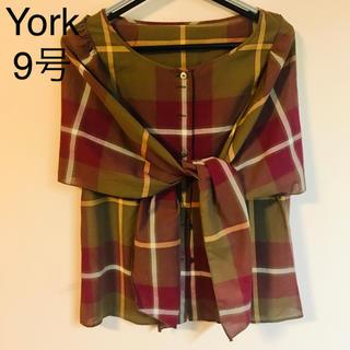 ヨークランド(Yorkland)のYork ヨーク 赤+茶系 チェックシャツ 9号(シャツ/ブラウス(半袖/袖なし))