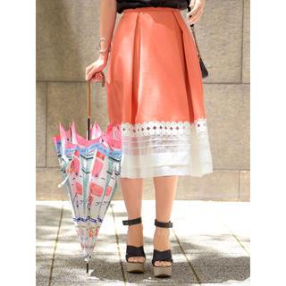 チェスティ(Chesty)のレア!タグ付き デザインフレアスカート オレンジ オーガンジー(ひざ丈スカート)