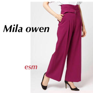 Mila Owen - Mila owen☆ミラオーウェン☆ ベルト付きハイウエストワイドパンツ【新品】