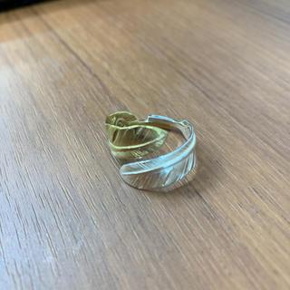 シルバー925 真鍮 ダブルフェザーリング ゴールド シルバー 羽根リング、03(リング(指輪))