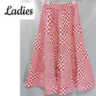 ブロックチェック ロングスカート 赤 ロカビリー 個性的 古着 レディース(ロングスカート)