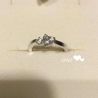 ヨンドシー(4℃)の美品 4°C  ヨンドシー ハート型リング ジルコニアダイヤ ハート💍 指輪(リング(指輪))