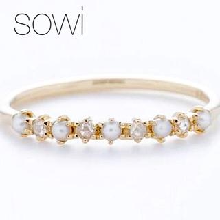 agete - ■現行品【sowi】K10YG リリーベル リング/ダイヤモンド&パール