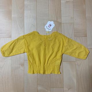 フタフタ(futafuta)の新品 未使用 ベビー キッズ 黄色 カラシ スカラップ刺繍 バースデイ(Tシャツ/カットソー)