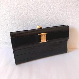 Salvatore Ferragamo - サルヴァトーレ・フェラガモ 長財布 がま口財布 クロコダイル型押しレザー